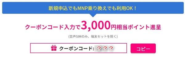 BIGLOBEモバイルキャンペーン クーポンコード入力で3,000円相当のポイントプレゼント